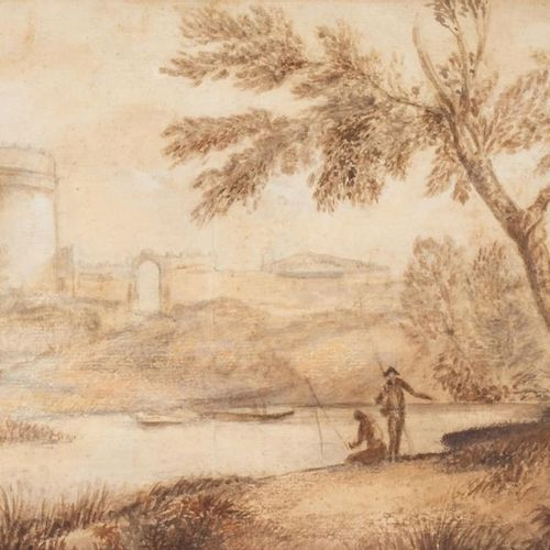 Anonymous, 19th century Animated Italian landscape Ink and wash on thick paper 2…