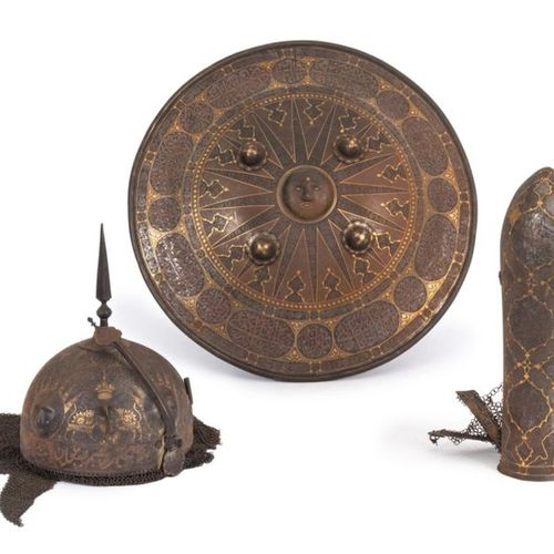 Indo Persian set including helmet (khula khud), armguard and shield (dhal) in ir…