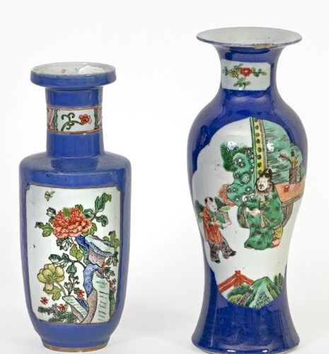 China, 19th century Set of two powder blue porcelain vases decorated with green …