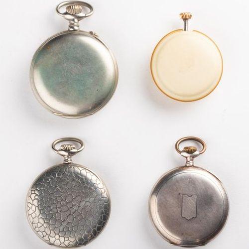 Lot de 4 montres de poche : Iaxa Chronomètre Montre en métal cadran émaillé tro…