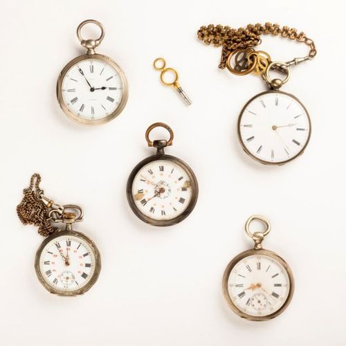 Set of five silver pocket watches in various technical and aesthetic states. Var…