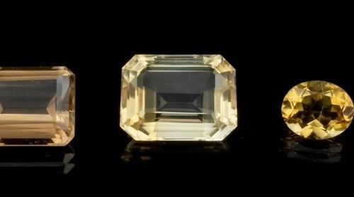 Batch of five citrines from intense yellow to pale yellow through 35.46 ct. Yell…