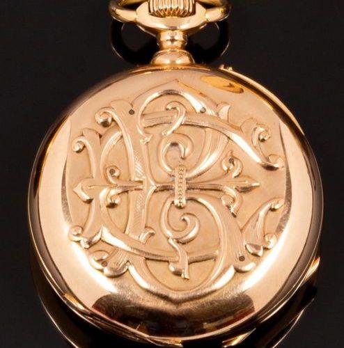 Anonyme Montre de poche en or jaune 18k (750 millièmes). Chronographe mono pouss…