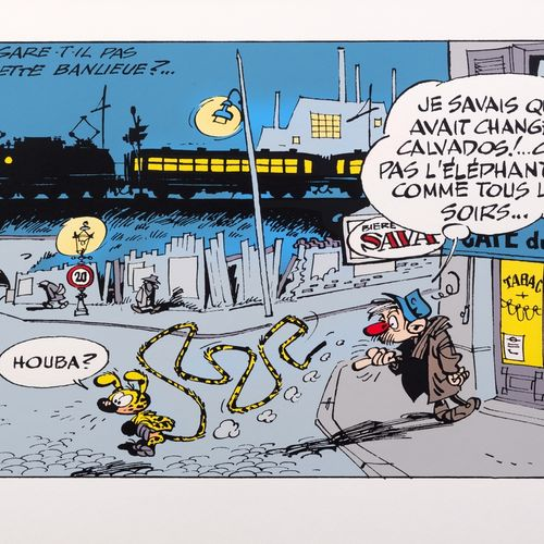 """Franquin : Le Marsupilami, silkscreen print """"Le Marsupilami et le pochtron"""" n°39…"""