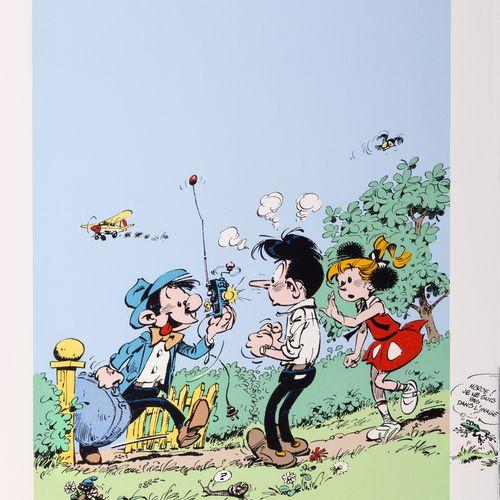 """Franquin : Modeste et Pompon 1, silkscreen print """"Modeste, Félix & Pompon"""" n°EA …"""