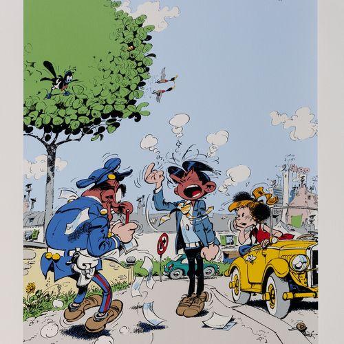 "Franquin : Modeste et Pompon 4, silkscreen print ""Modeste contravention"" n°EA II…"