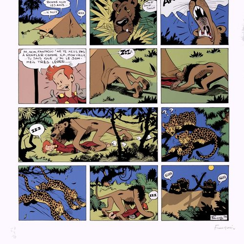 "Franquin : Spirou, silkscreen print representing plate 28 of the episode ""L'Héri…"