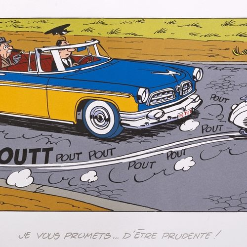 "Franquin : Spirou, silkscreen print ""Seccotine on her scooter"" n°121/199, signed…"