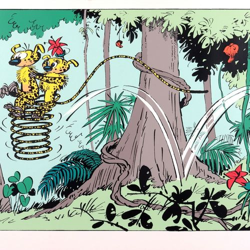 "Franquin : The Marsupilami, silkscreen print ""Le Couple marsupilami"" n°HC 5/25, …"