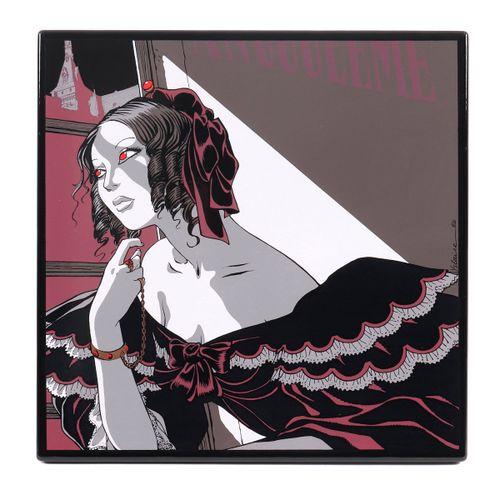 """Yslaire : Sambre, enamelled plaque """"La Femme à la fenêtre"""" n°HC 3/9 signed, edit…"""