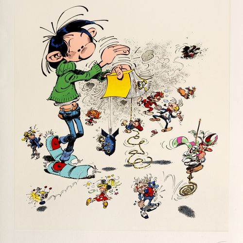 Franquin : Gaston, silkscreen print representing Gaston shaking a yellow book fr…