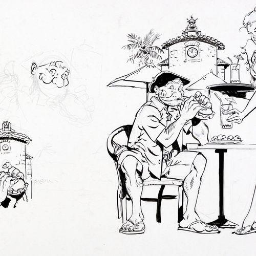 Meynet : Blake et Mortimer, illustration à l'encre de Chine sur carton réalisée …