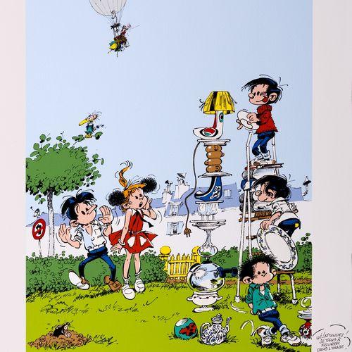 "Franquin : Modeste et Pompon 3, silkscreen print ""Le Totem"" n°III/X, signed (Ed.…"