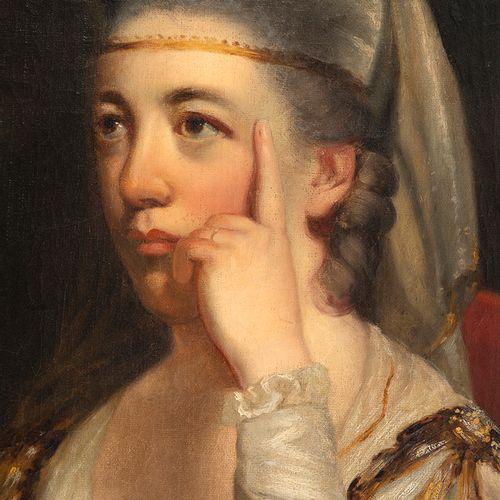 École romantique, fin XVIIIe siècle Portrait d'une dame pensive  Huile sur papi…