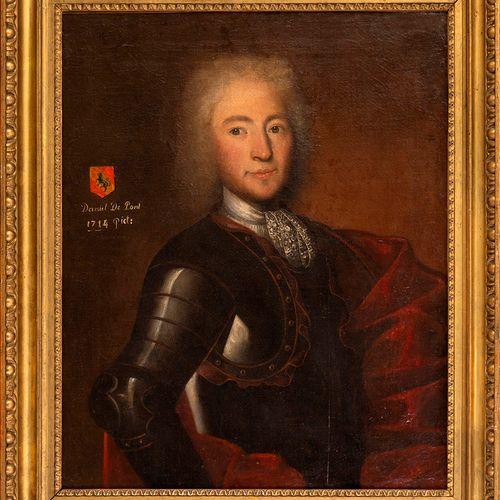 École du XVIIIe siècle Portrait de Daniel du Pont Wtyamoz, Capitaine au service…