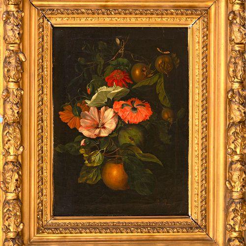 École hollandaise, fin XVIIIe siècle Nature morte aux fleurs et insectes Huile …