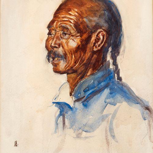 École chinoise du début du XXe siècle Portrait d'homme asiatique Aquarelle sur p…