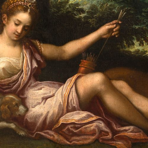 École italienne, XVIIe siècle Diane chasseresse au repos Huile sur toile rentoil…