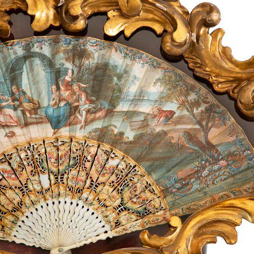 Paire d'éventails peints à décor de scène animée de personnages et animaux, les …