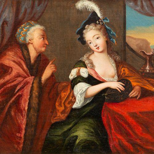 École française, XVIIIe siècle La mise en garde Huile sur toile rentoilée 33,5…