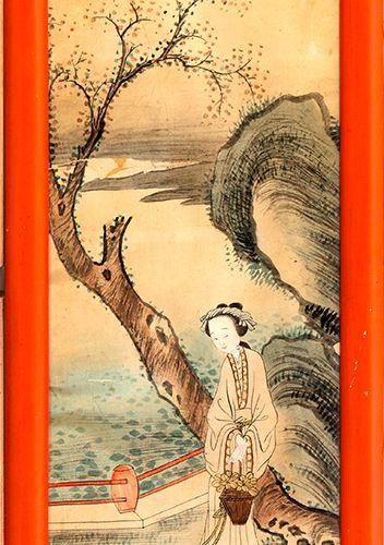 Chine, fin de la période Qing (1644 1912) Aquarelle sur papier représentant une …