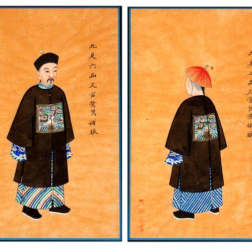 Chine, fin du XIXe siècle Paire de gouaches sur papier de riz à décor de person…