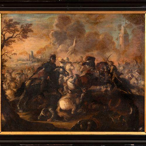 École italienne, XVIIe siècle Scène de bataille Huile sur toile 59 x 71,5 cm (a…
