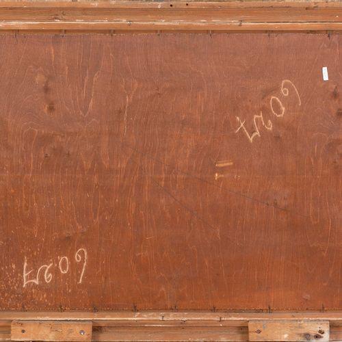 École début XXe siècle Scène galante au parc Huile sur panneau 57 x 76,5 cm