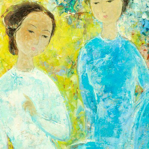 VUCao Dam(1908 2000) Deux femmes assises , circa 1960 70 Huile sur toile Signé…