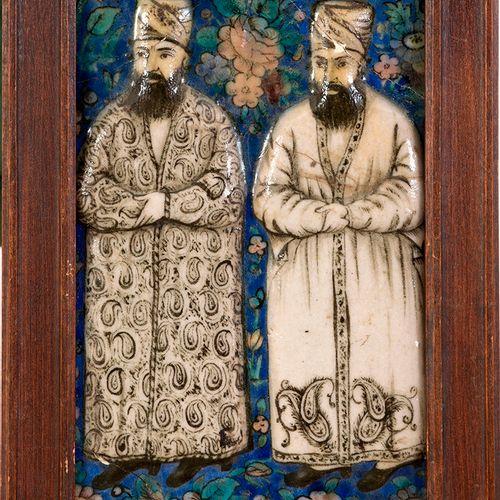 Fragment de carreau aux dignitaires Qajar Iran, Art qâjar, vers 1850 Fragment de…