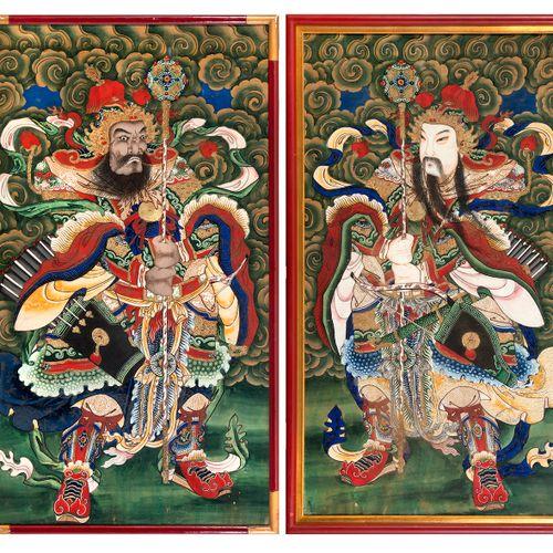 Chine, fin de la période Qing (1644 1912) Paire de peintures sur soie représenta…