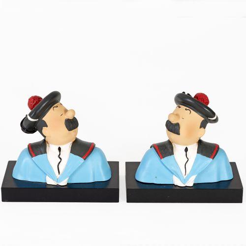 Hergé : LEBLON DELIENNE : Tintin buste, Dupond et Dupont marins, sur socle bois,…