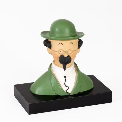 Hergé : LEBLON DELIENNE : Tintin buste, Tournesol sur socle bois, 1988, 3300 ex.…
