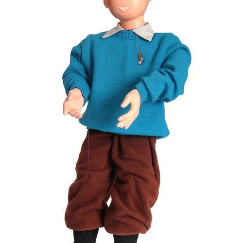 Hergé : LEBLON DELIENNE : Tintin, la marionnette de Tintin pull bleu, 1990, n°/3…