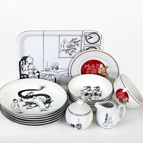 Hergé : AXIS : Tintin, lot vaisselle porcelaine Le Lotus bleu : 1 plateau, 6 gra…