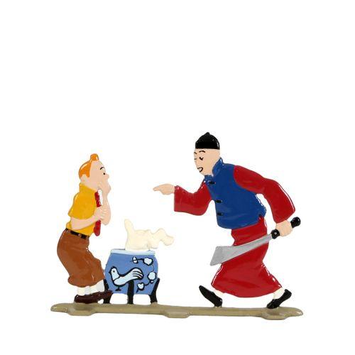 Hergé : PIXI : Tintin, 2400, plat d'étain avec Didi, Le Lotus bleu, 1995, 700 ex…