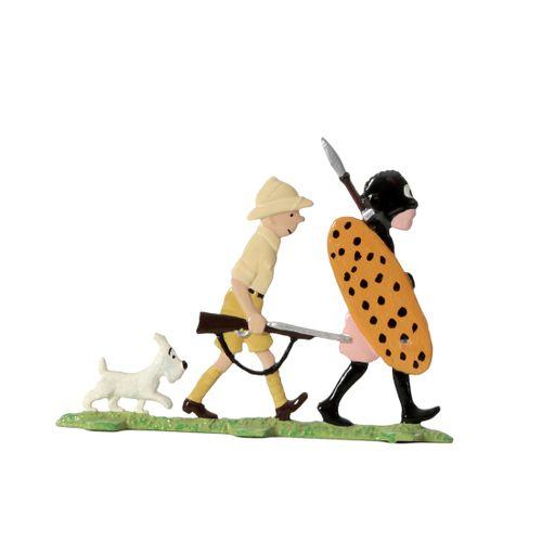 Hergé : PIXI : Tintin, 2401, plat d'étain, Tintin au Congo, 1995, 700 ex., B tra…