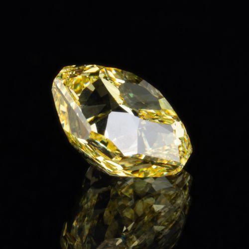 Diamant naturel jaune intense (Fancy Intense Yellow) de 1,01 ct., taille carré m…