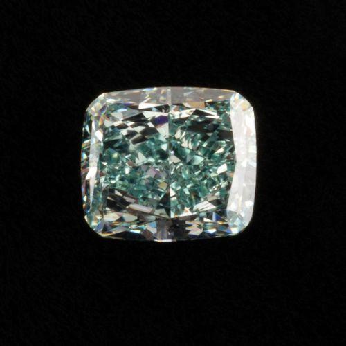Diamant vert bleu intense de 0,50 ct. Taille coussin modifié, pureté VS1. Que di…