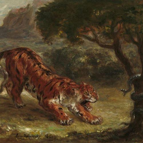 Eugène DELACROIX (1798 1863) Tigre prenant son élan, 1848 Pastel, signé en bas à…
