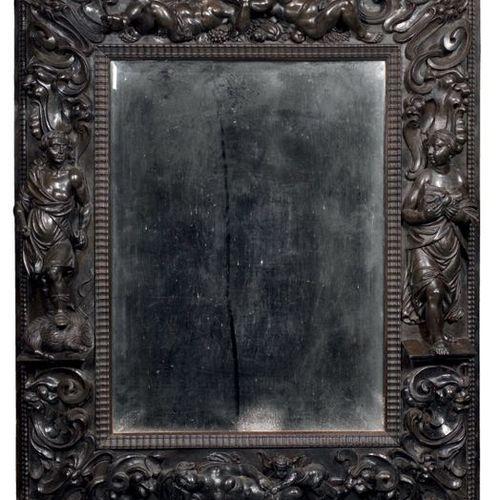 """FRANCE ÉPOQUE LOUIS XIII VERS 1650 1660 MIRROR """"MÉLEAGRE ET ATALANTE"""" Ebony and …"""