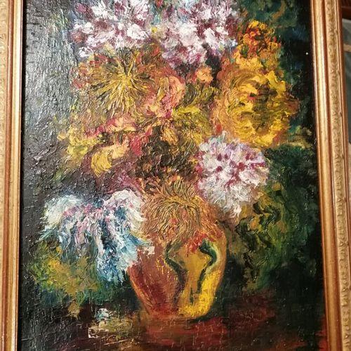 """DEUSTASE """"nature morte aux fleurs"""" huile sur toile signée bas à droite. 80x57 cm"""