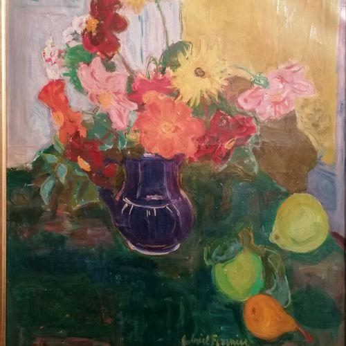 """Gabriel FOURNIER """"nature morte aux fleurs et fruits"""" huile sur toile signée en b…"""