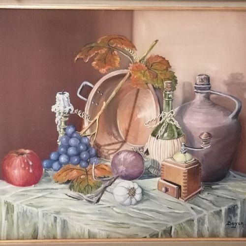"""M. BOYER """"Nature morte aux fruits et cuivre"""",布面油画,右下方签名。45x53厘米"""