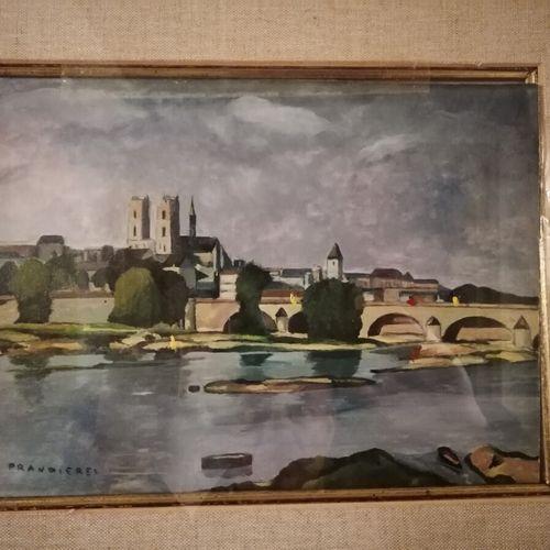 """R. De PRANDIERES """"Notre Dame"""" et """"le pont"""" 2 huiles sur papier. 25x30 cm"""