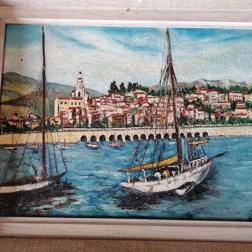"""ALBERT """"le jardin"""", huile sur toile. 27x34 cm. On y joint RASCHIA """"le port de Me…"""
