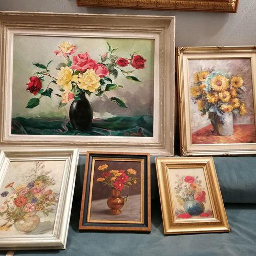 标有BOUCHER、Didier CAVET、J. SEBILE或DIEULAFE的5件静物画作品
