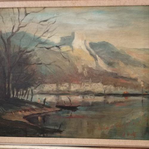 """Albert MALET (1905 1986) """"le lac du Bourget, vue de Brison"""" 油画板,右下角有签名,标题,日期为07/…"""