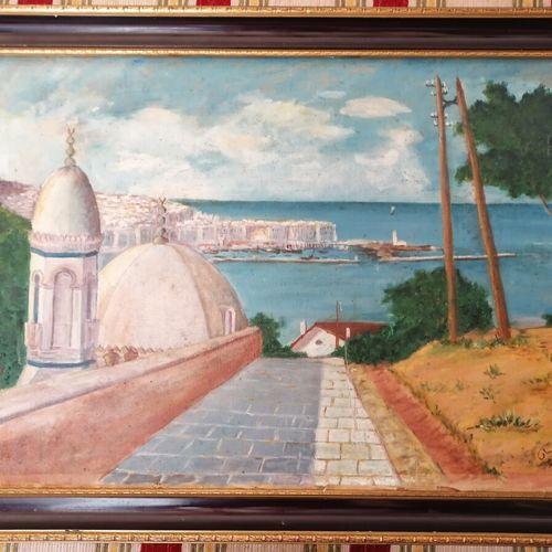 """Hary BRIZZI """"Mosquée au bord de mer"""" huile sur toile signée en bas à droite. 36x…"""