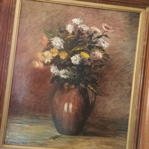 "J.BALLACK ""花的静物"",布面油画,日期为93年"